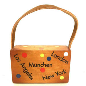"""Other - Toddler Little Girl Purse Wooden Leather Handle 3"""""""